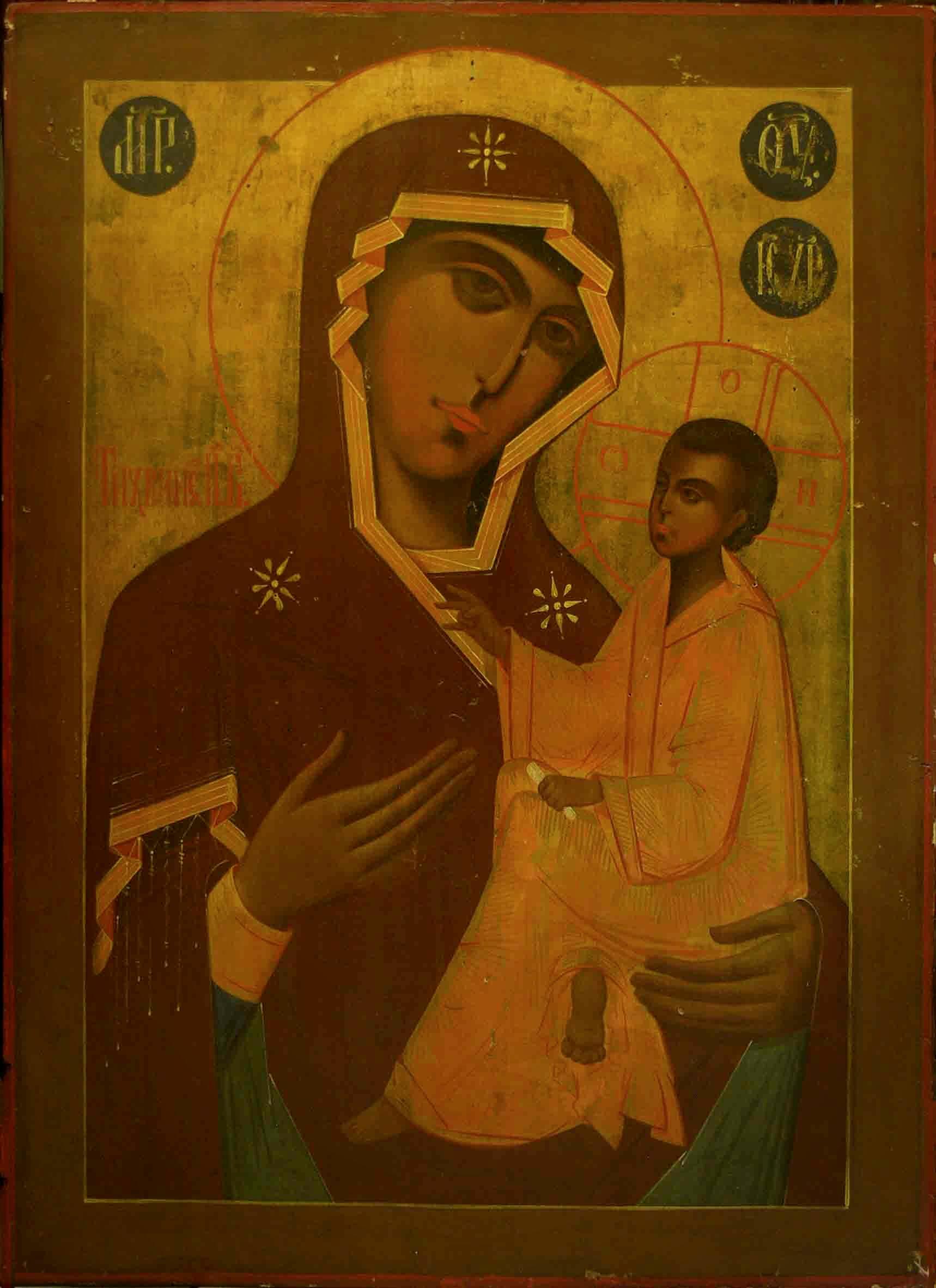 Pravoslavná ikona Bohorodička Hodegetria Tichvinká