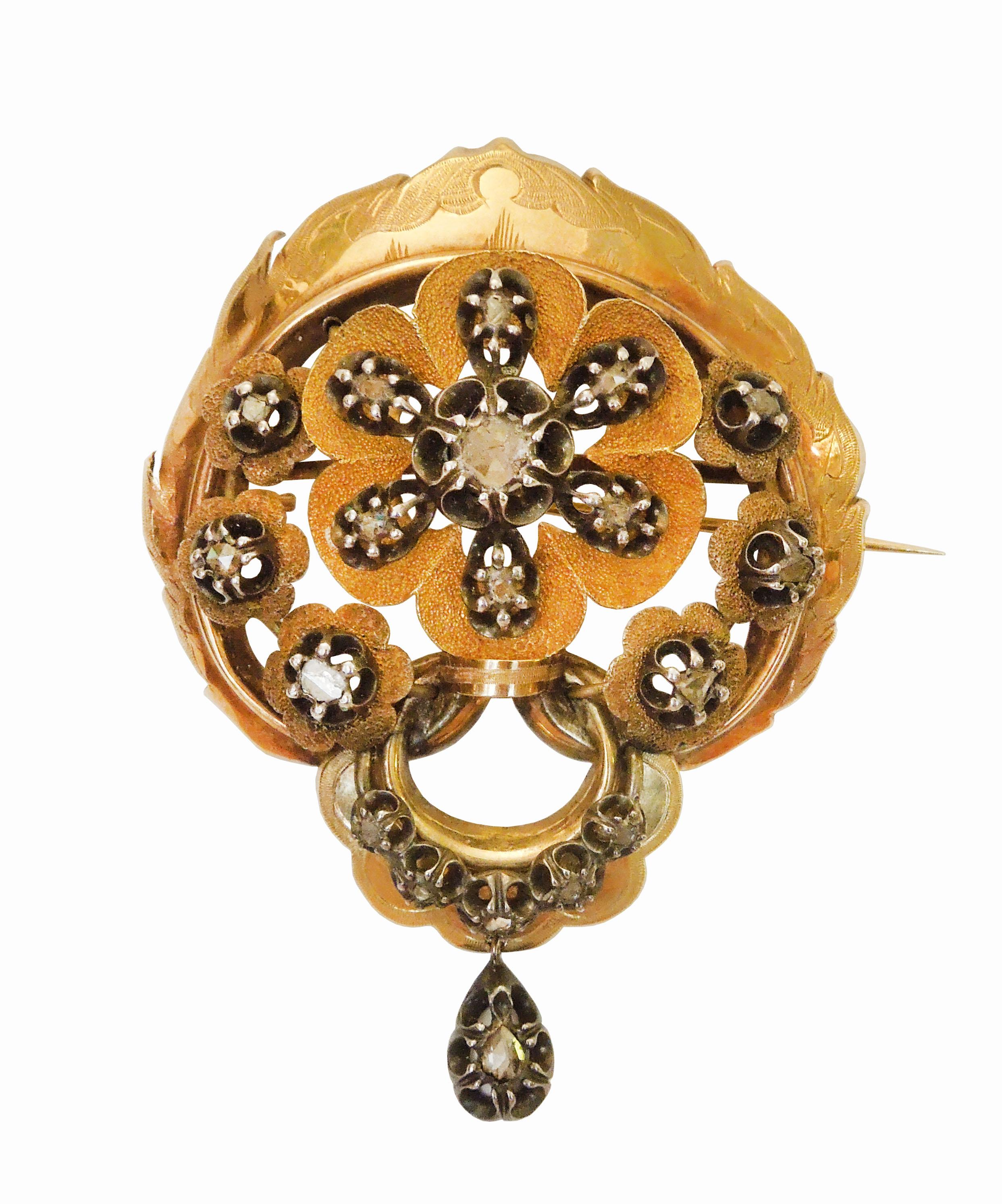 Zlatá brož s diamanty