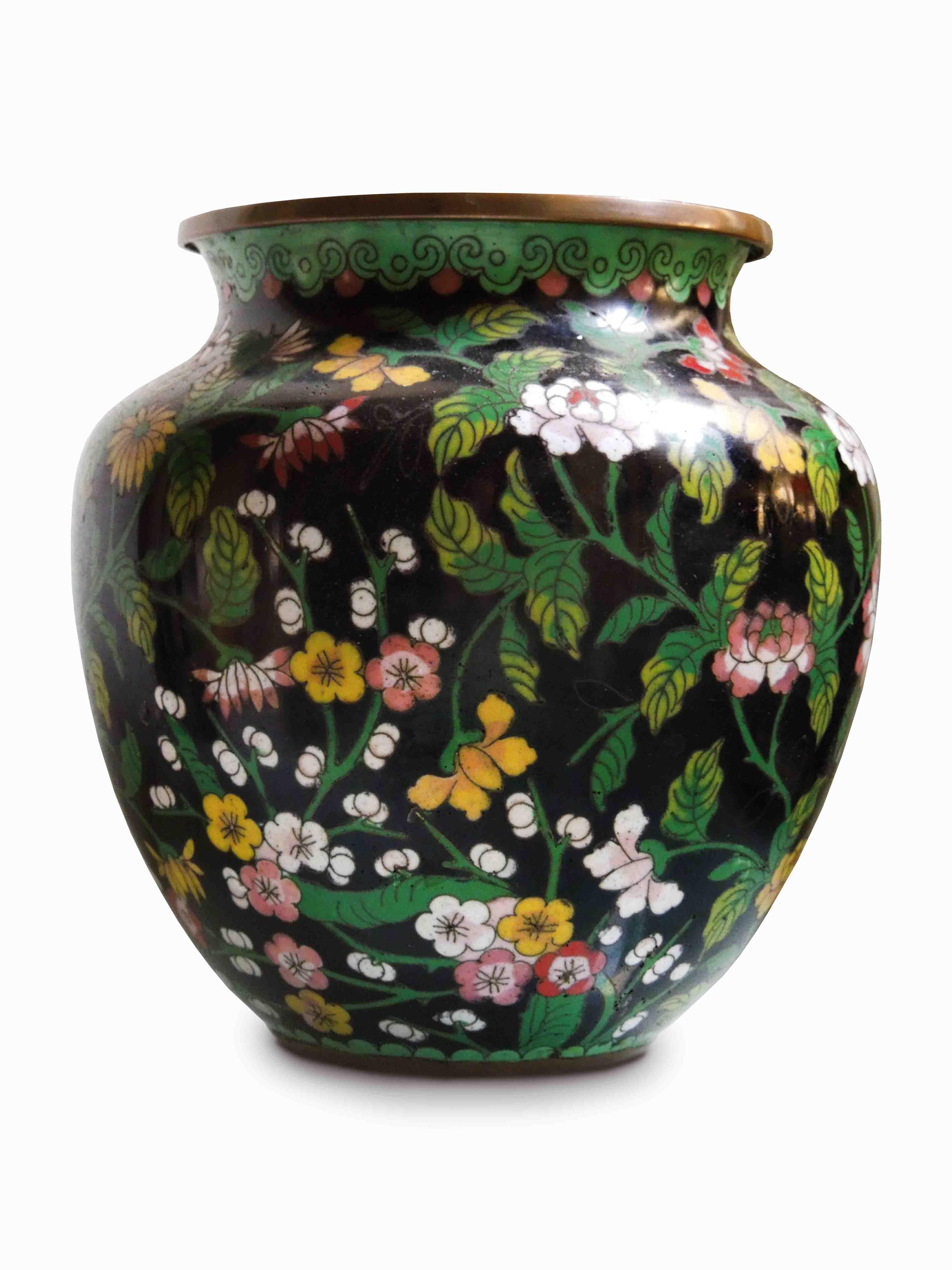 Čínská bronz váza, cloisonne