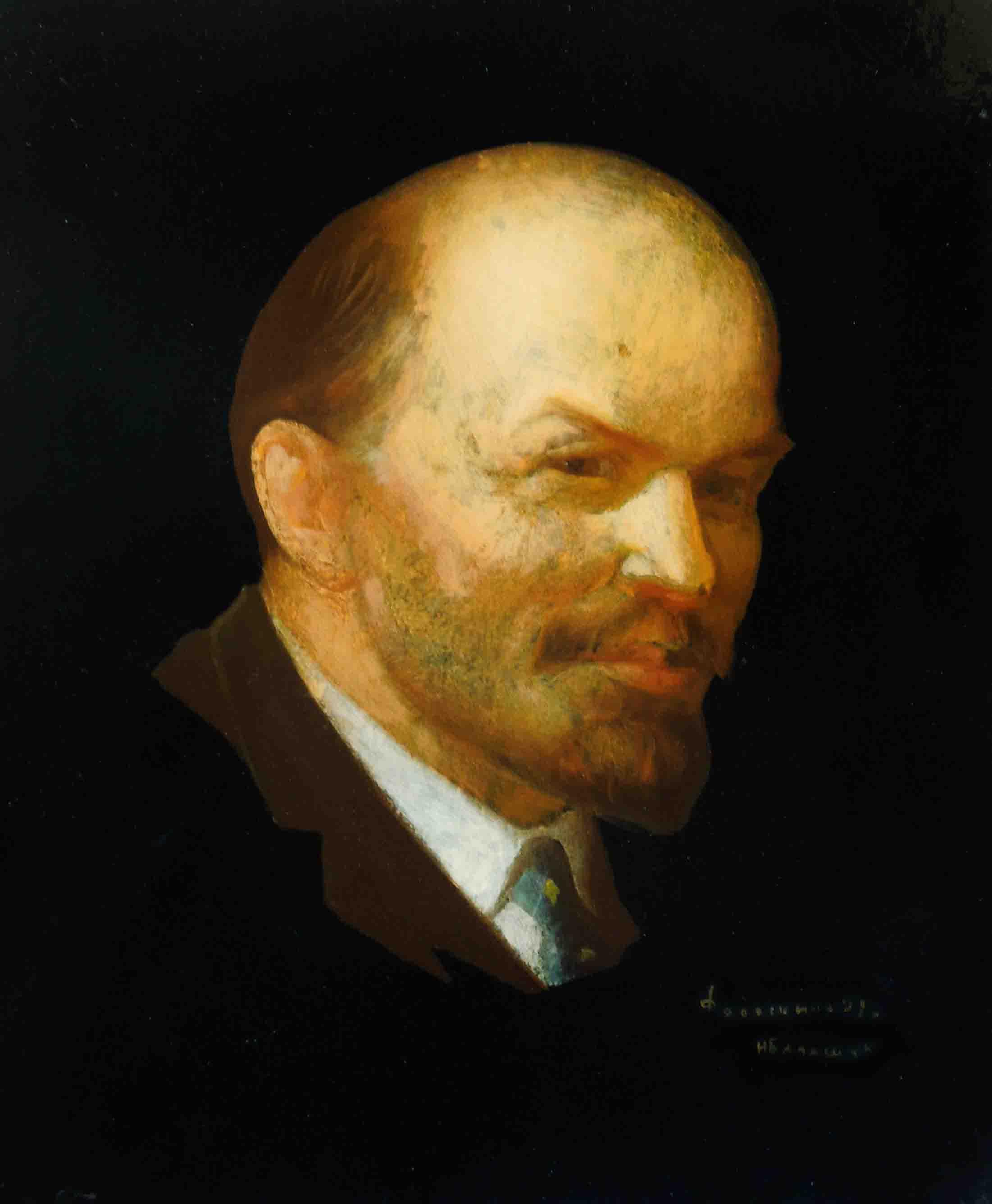 Fedoskino miniatura Lenin